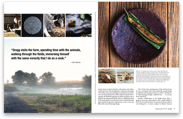Spread of pages showing content from American Craft magazine